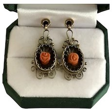 Stunning Antique Mid-Victorian Salmon Coral Rose Earrings