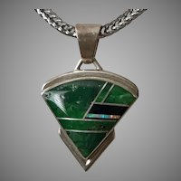 Beautiful! Sterling Silver Turquoise Inlay Pendant