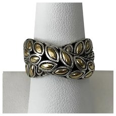 Estate John Hardy Padi Silver & 18K Gold Twist Ring  Size 8-1/2