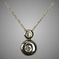2-Tone 14K Gold Diamond Pendant with Chain