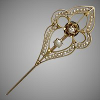Antique Victorian Quatrefoil Diamond and Seed Pearl Stick Pin