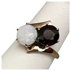 Rose Gold Victorian Toi et Moi Opal and Garnet Ring