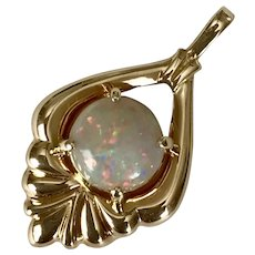 Beautiful 14K YG Semi-Black Opal Pendant