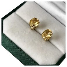 Beautiful 14K YG Natural Citrine Stud Earrings