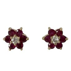 Lovely 14K YG Ruby and Diamond Earrings