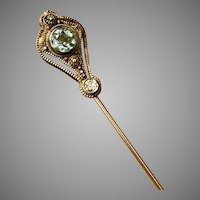 14K YG Victorian Etruscan Aquamarine and Diamond Stickpin