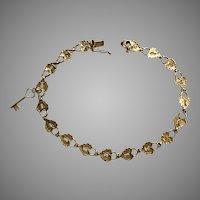 Vintage 14K YG Lock Bracelet with Key Charm 7-1/8 Inches