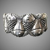 70.5 Grams Sterling Silver Koi Fish Handmade Cuff Bracelet
