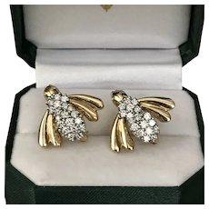 BOCK 1.20 CTW  'Set of Two' Diamond Bee Brooches 14K YG