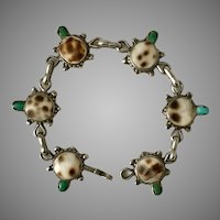 Handmade Sterling Silver Turquoise and Tiger Cowrie Shell Bracelet
