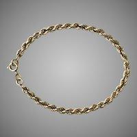 Vintage 14K YG Rope Bracelet 7-3/4 Inches in Length