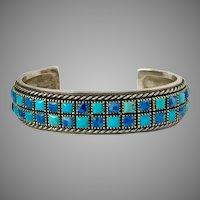 Sterling Silver Handmade Turquoise & Sodalite Tile Bracelet
