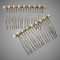 Lovely Mid-Century Handmade  Hair Combs