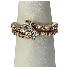 A Romantic 14K Rose Gold Toi et Moi Diamond Ring