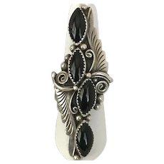 Mid-Century Delbert Gordon Navajo Black Onyx Sterling Silver Ring Size 8-3/4
