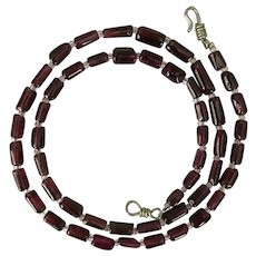 18-Inch Garnet Tube Bead Necklace