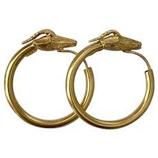 Stunning 18K YG Ilias Lalaounis Rams Head Hoop Earrings