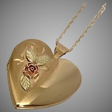 Pristine Mid-Century Heart Locket with Rose 19-Inch Chain