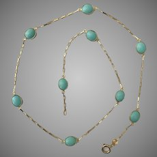 Striking! 18K YG Persian Turquoise Station Necklace