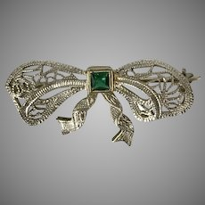 Antique Edwardian 10K WG Green Glass Filigree Bow Pin