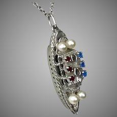 Sterling Silver Cruise Ship Pendant with Paste Gemstones and Faux Pearls