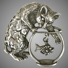 Delightful! Sterling Silver Cat in the Fishbowl Pin