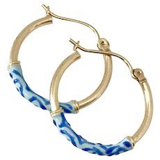 Pretty! 14K YG Hoop Earrings with Blue Art Glass