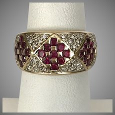 Gorgeous Estate 14K YG Diamond and Ruby Ring Size 6-1/2