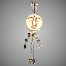 4-1/2 Inch! Boho-Style Gemstone Man in the Moon Sterling Silver Pendant