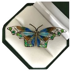 Estate Mid-Century Chinese Enamel Filigree Butterfly Pin