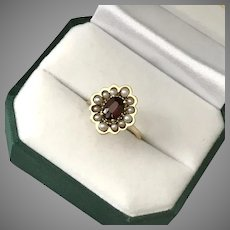 Mid-Century 14K YG  Garnet and Seed Pearl Ring Size 6