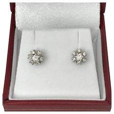 Vintage 14K WG Diamond Cluster Stud Earrings