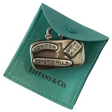 Tiffany Sterling Silver Suitcase Pendant, Pillbox, Keepsake Holder