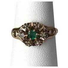 Antique Victorian Emerald and Rose Cut Diamond Ring