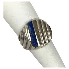 Sterling Silver Lapis Lazuli Signet Grooved Ring Size 8-1/2