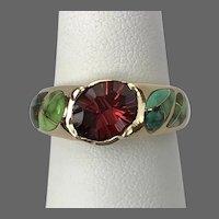 Outstanding! Custom 14K YG Garnet and Turquoise Ring Size 7