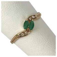 14K YG Moi et Toi Emerald and Diamond Ring Size 7-1/4