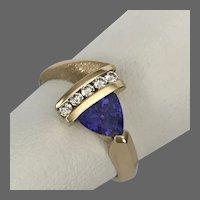 Stunning! 14K YG Tanzanite and Diamond Ring Size 7