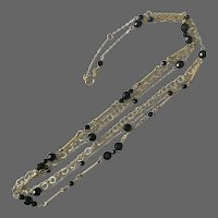 14K YG, 19-Inch, 4-Chain, Faceted Black Onyx Bead Necklace
