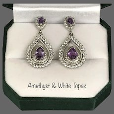 Beautiful Amethyst and White Topaz Sterling Silver Drop Earrings
