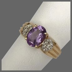 Stunning! 14K YG Amethyst and Diamond Ring Size 6-1/4