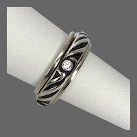 Sterling Silver Black Enamel Spinner Ring
