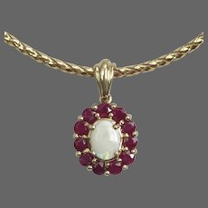 Vintage Ruby and Opal 10K YG Pendant