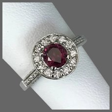 Classic Contemporary 14K WG Ruby and Diamond Halo Ring Size 5