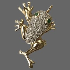 14K Gold Diamond and Emerald Frog Pendant/Converter Brooch