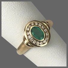 Lovely 14K YG Emerald and Diamond Ring Size 6.5