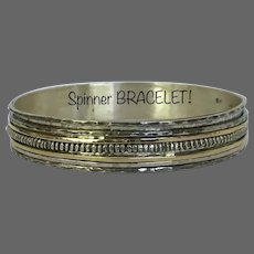 "Solid 33.1 Grams Sterling Silver and Gold Spinner ""Bracelet'"