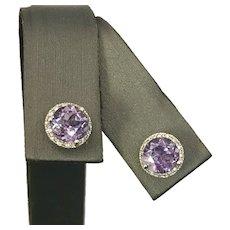 Gorgeous 14K WG Synthetic Alexandrite Like Sapphire Earrings
