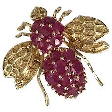 2.3 Carats Mid-Century 14K YG Ruby Bee Converter Brooch