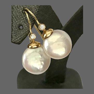 Beautiful 18K YG 12MM Coin Pearl and Diamond Drop Earrings